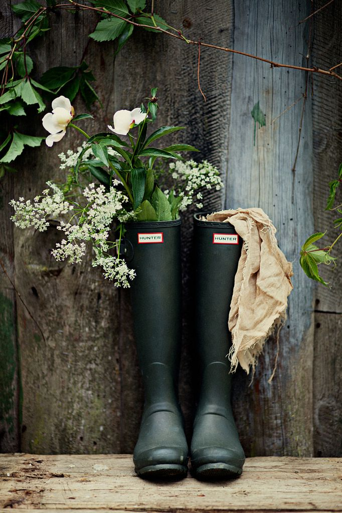 ~ Love Hunter boots. I have a few pairs, they come in pretty much every color of a wildflower & a rainbow! Perfect garden attire.