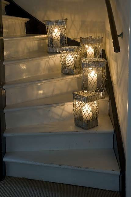 such a good idea.use Brite Ideas candles, turn on the timer, you have a safe and worry free stairway. thanks candle lover!