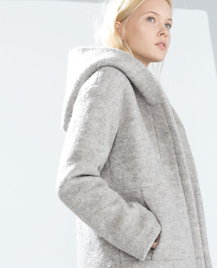 Image 3 of HOODED WOOL COAT from Zara