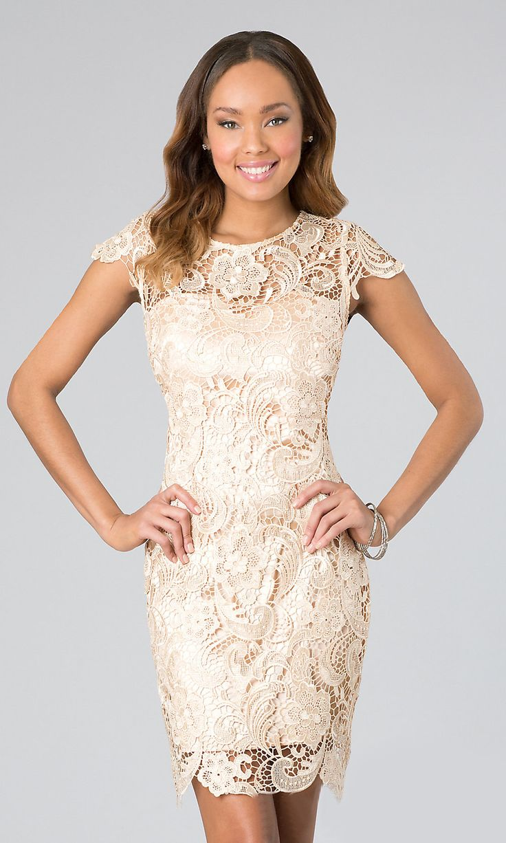 Short Lace Champagne Cocktail Dress Cap Sleeves Illusion Neckline