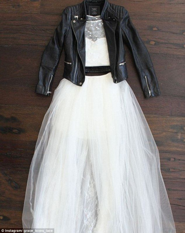 Winter warmer: While leather is leading the trend, denim jackets and faux fur coats are also favoured by brides