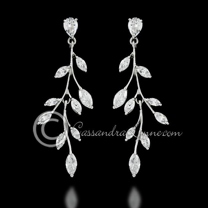 Marquise Wispy Vine CZ Bridal Earrings – Rings