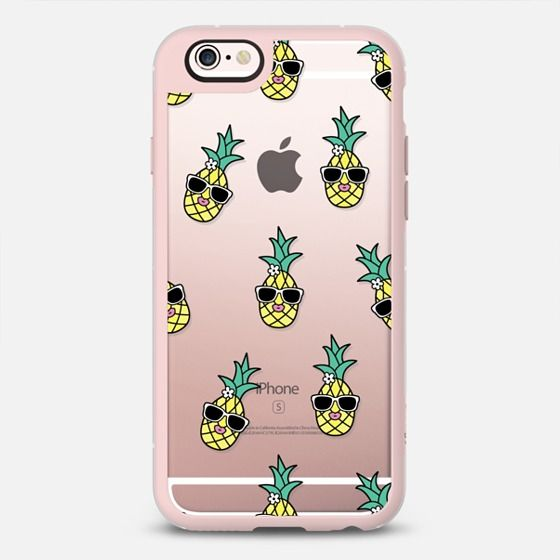 Pineapple Girl - New Standard iPhone 6/6S #Protective Case in Pink Gray and Clear by Krystan Saint Cat #phonecase | @casetify