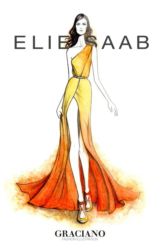 #ELIESAAB SPRING 2015 #PFW by #GRACIANOfashionillustration