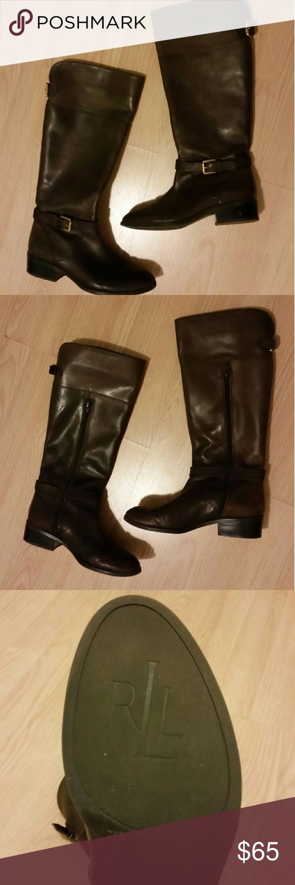 Ralph Lauren riding boots Lightly worn dark brown riding boots.  Great for fall and winter.  Firm Price. Lauren Ralph Lauren Shoes Winter & Rain Boots