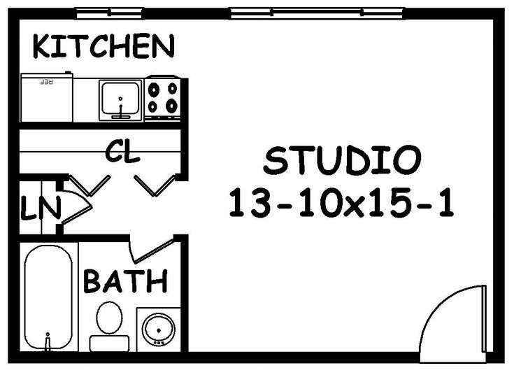 Studio Apartment Furniture Plans: Studio Apartment Layout Design In Medium Space Room With The Kitchen In The Rear Corner