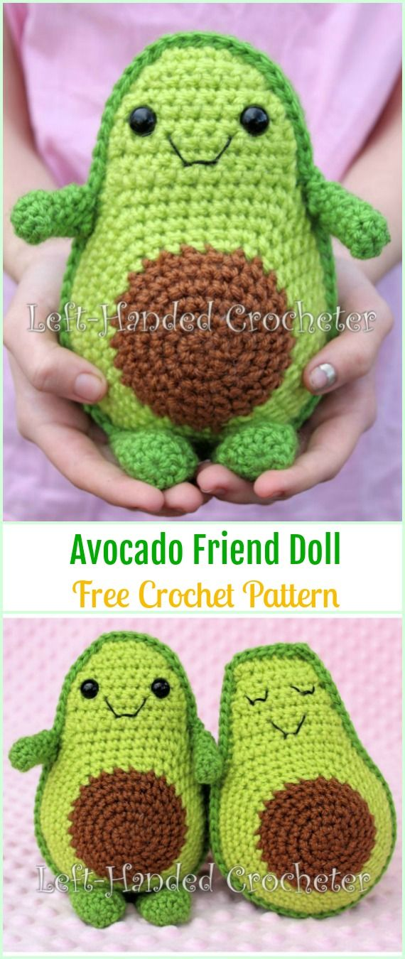 Crochet Avocado Friend Doll Free Pattern - Crochet Doll Toys Free Patterns