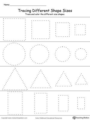 *FREE* Tracing Different Shape Sizes: Square, Circle, Triangle and Rectangle: Trace and color different sizes of the same shape in this printable worksheet. Practice drawing oval, diamond, pentagon and hexagon shapes while working on fine motor skills.