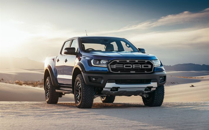 Download wallpapers Ford F-150 Raptor, 2018, 4k, exterior, desert, new blue F-150, pickup, SUV, Ford