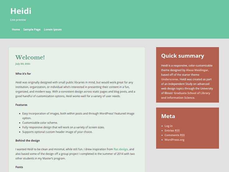 WordPress › Heidi « Free WordPress Themes