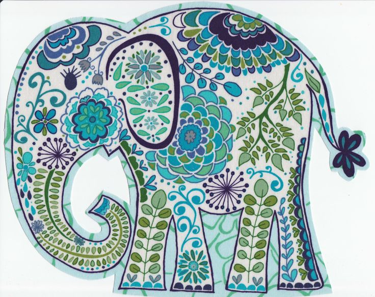 Jumbo Blue Foral Paisley Fabric Iron On Elephant Applique. $5.99, via Etsy.