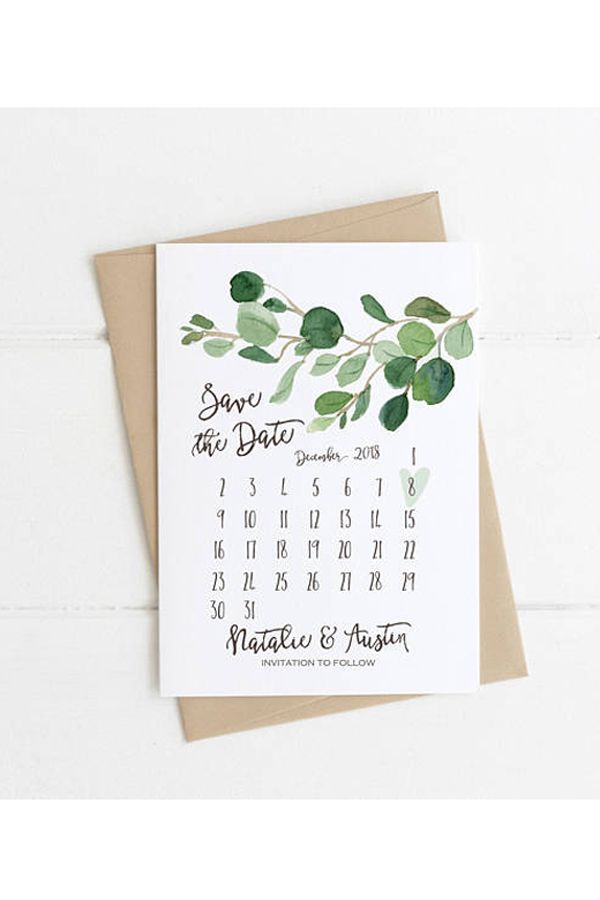 Greenery Save the Date Card, Minimalist Wedding Printable ...