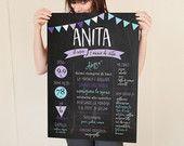 Poster digitale 'il mio anno' completamente personalizzabile - A2 Sfondo effetto lavagna - Idea regalo - Servizio stampa su richiesta