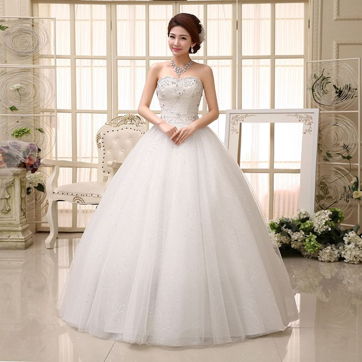Find More Wedding Dresses Information about 2015 new hot sale simple sexy backless elegant  beach  sweetheart  Bra lace plus size white beading wedding dress strapless,High Quality lace cheongsam dress,China lace top peplum dress Suppliers, Cheap lace tank wedding dress from Playful beauty department store on Aliexpress.com