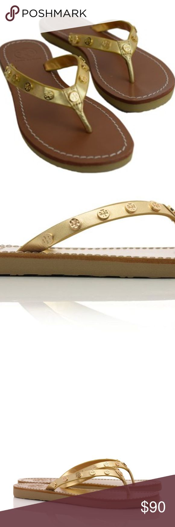 Tory Burch Ricki Metallic Gold Flip Flop Size 8 Tory Burch - NEW PICTURES WILL be added tonight  Ricki Metallic Gold Flip Flop  The polish of our signature Double Wrap Logo Bracelet, in chic footwear form. Our Ricki Metallic Flip-Flop is detailed with logo-embossed flat studs - giving this warm-weather basic a jewelry-like feel and touch of hardware edge. Made of rich leather with an of-the-moment gold finish, it's a comfortable essential for sunny days and getaways.  Size 8  Very gently…