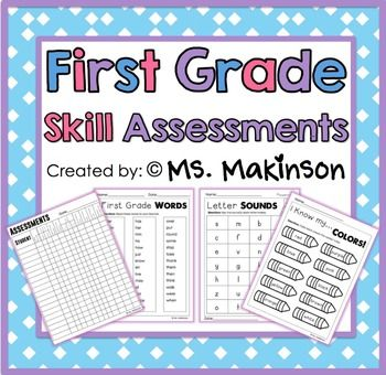 This is an image of Dashing First Grade Assessment Test Printable
