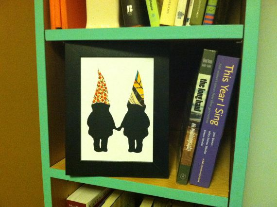 This dapper gnome couple brings a unique quality to bookshelves or walls!