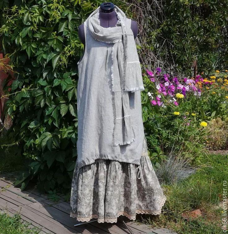 Купить №176 Льняной сарафан - бохо сарафан, стиль бохо, льняной сарафан, летний сарафан
