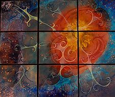 "Summer Sky in Nine Panels by Cynthia Miller (Art Glass Wall Sculpture) (34"" x 40"")"