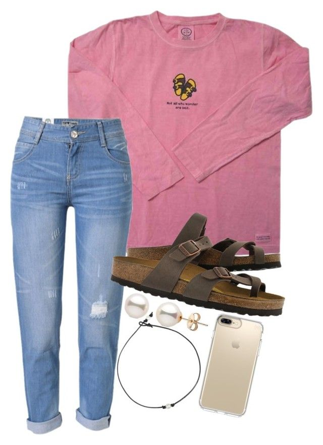 """""""first set of 2017 """" by legitimately-kierstin ❤ liked on Polyvore featuring WithChic, Birkenstock and Speck"""