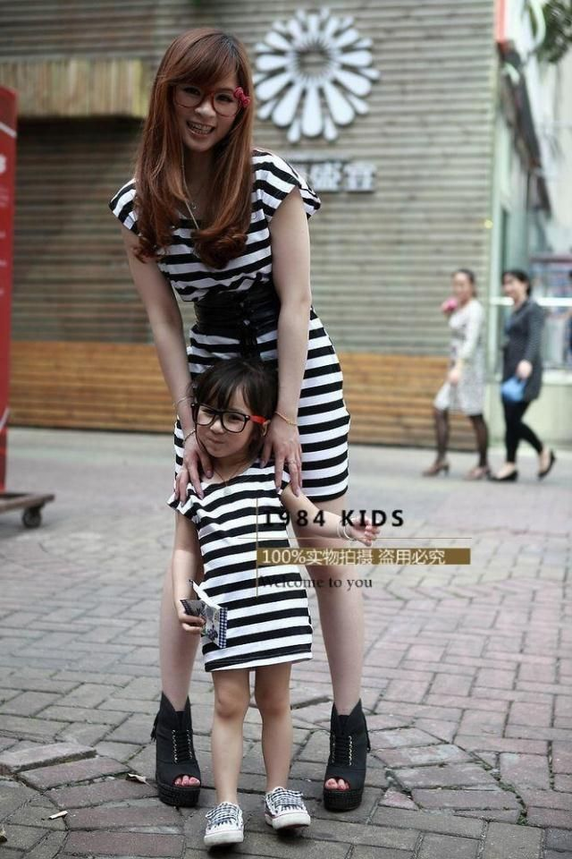 Mother Daughter matching black and white dresses
