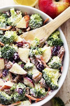 80% INGREDIENTS 4 cups fresh broccoli florets, (about 2 medium heads) ½ cup shredded carrots ¼ cup diced red onion 2 large apples, finely chopped (I used gala apples) ½ cup pecans, coarsely chopped ½ cup dried cranberries Creamy dressing ingredients: ½ cup lite mayonnaise ½ cup low fat greek yogurt 2 Tablespoons lemon juice 1 Tablespoon sugar ¼ teaspoon salt ⅛ teaspoon pepper