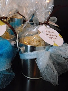 """Mini Pails Baby Shower Party Favors  """"Thank you for celebrating with us""""  I found these pails at Target for .$50 each.  ADORABLE!  Tie some tulle around the pail, stick in some treats   krispie treats; @Shannon Bellanca Viloria"""