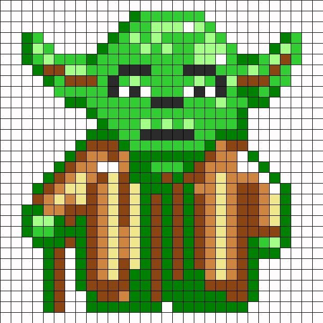 Yoda Perler Bead Pattern | Bead Sprites | Characters Fuse Bead Patterns. Wonder if I can use this as a quilt pattern?