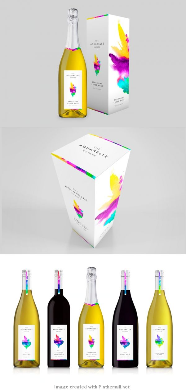 The Aquarelle Estate wine bottle packaging