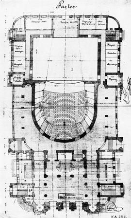 Teatr im. Juliusza Słowackiego w Krakowie, rzut poziomy parteru, 1891 rok, Jan Zawiejski