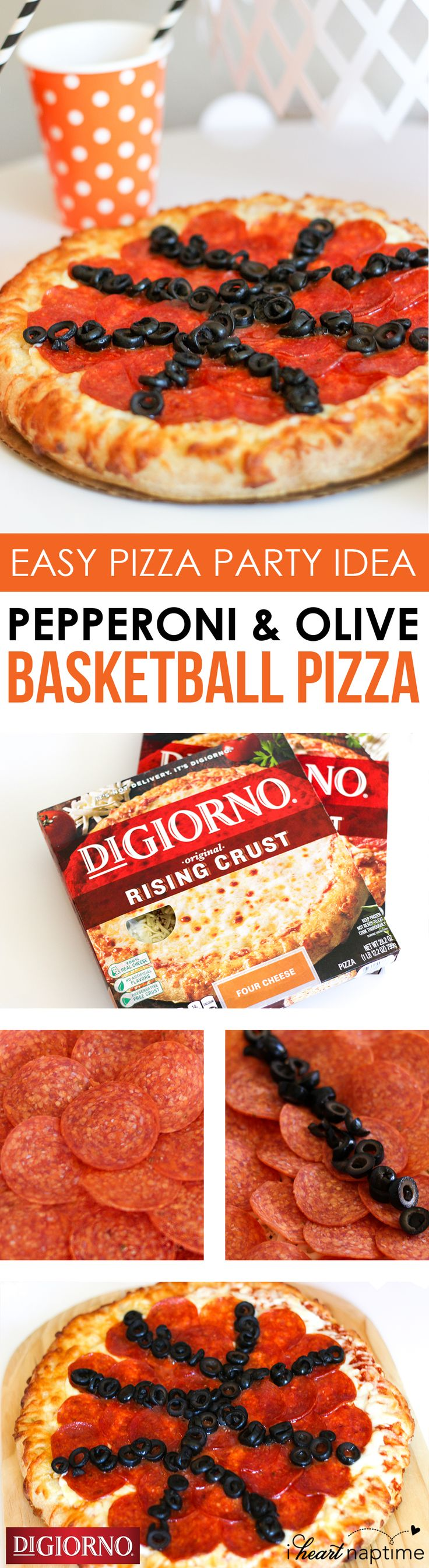 Inspiration for your basketball watch party from @iheartnaptime! Supplies: DIGIORNO Original Rising Crust Four Cheese pizza, Olives and Pepperoni slices. Step 1: Start with DIGIORNO Original Rising Crust Four Cheese pizza as the base of the basketball pizza. Step 2: Top the pizza in its entirety with pepperoni. Step 3: Add olives to the pizza to resemble the black stripes on a basketball. Step 4: Bake the pizza for about 20 minutes, serve and enjoy!