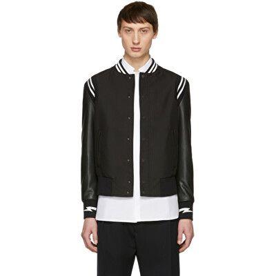 3a40ea6d4 Neil Barrett Designer Black Sports Bomber Jacket | Avivey (Style ...