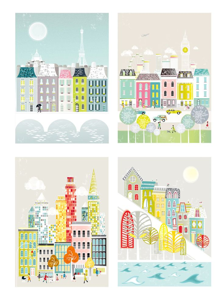 Cityscape Print Collection Paris, London, NY, San Francisco by laura amiss on etsy