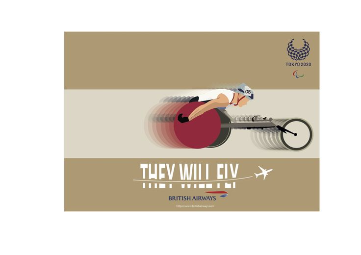'They will fly' postcard design, for British Airways 2020 Tokyo Paralympics advertising campaign by Ben White, Esher College 2017