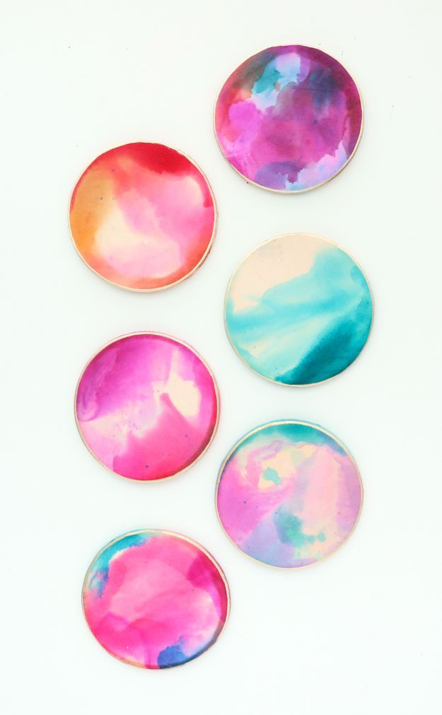 DIY Alcohol Ink Marbled Leather Coasters