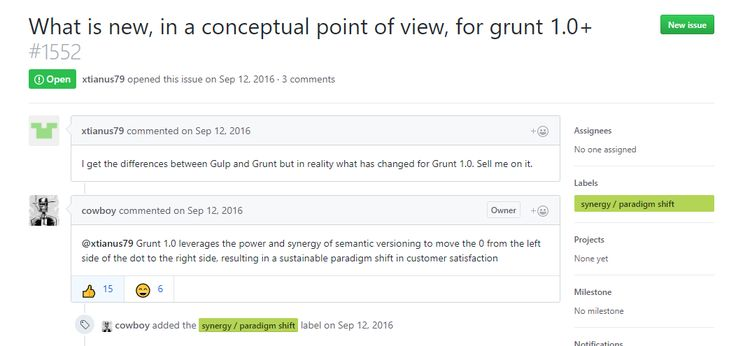 That reply about #GruntJS 1.0.0 changes made my day! https://github.com/gruntjs/grunt/issues/1552 #webdevelopment #lol #paradigmShift