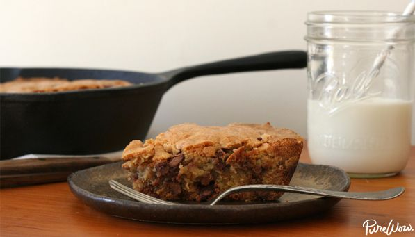 A cast iron skillet chocolate chip cookie: Guaranteed to satisfy any sweet tooth via @PureWow