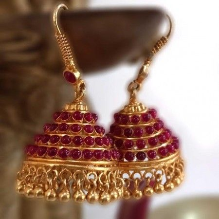 Glorious Jhumka with Pink Kemple Stones | Madhurya - Temple Jewellery for Everyone #Pink #Jhumka #Madhurya