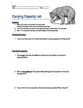 """A fun and interactive classroom activity to simulate carrying capacity and limiting factors. Students are able to act out a functioning ecosystem, and bring vocabulary terms to life!  """"Food Source"""" cards are included, as well as some scenario suggestions."""