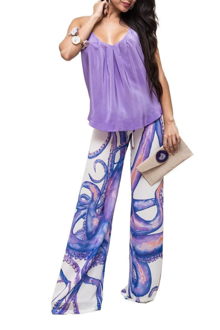 These purple octopus pants have an easy to wear silhouette and can be dressed either up or down. The print is to die for and the richness of the colors is even the more beautiful! It is a full length pantandhas an adjustable drawstring waistband.   Octopus Print Pants by Ramona La Rue. Clothing - Bottoms Clothing - Bottoms - Pants & Leggings - Flare & Wide Leg Las Vegas