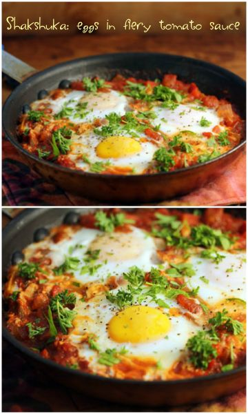 Shakshuka: poached eggs for breakfast or dinner. #vegetarian