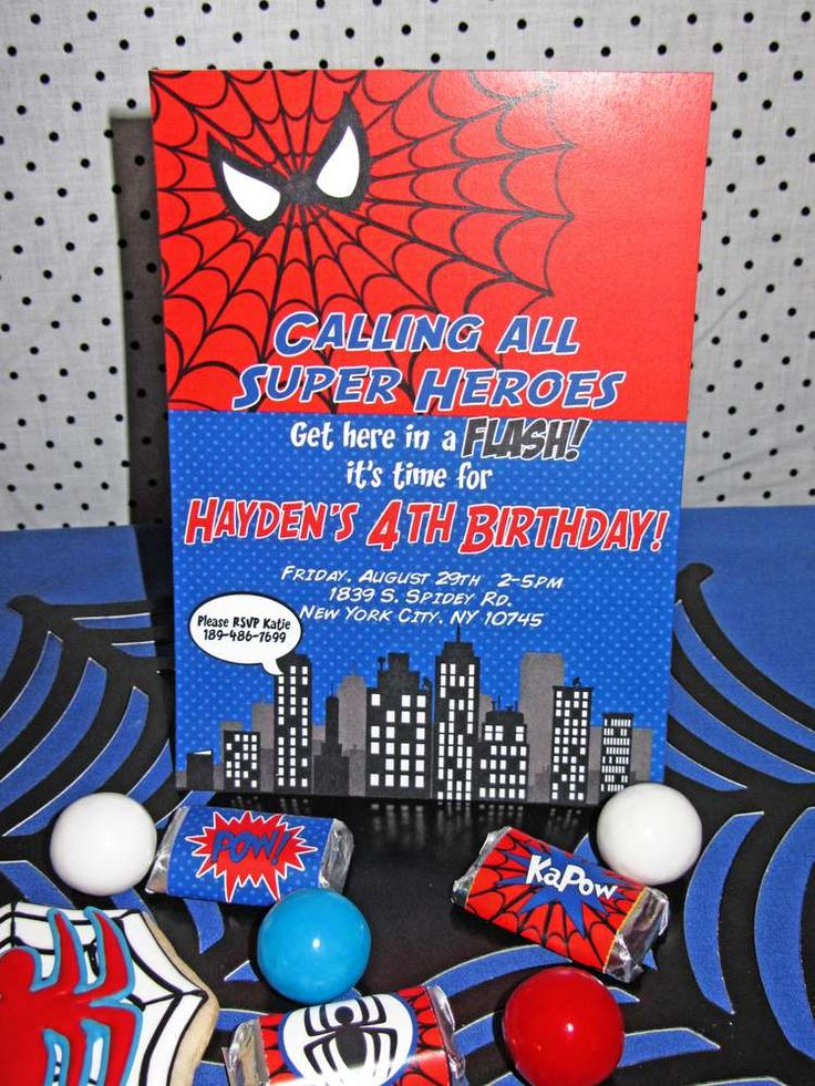 Awesome invitation at a Spiderman birthday party! See more party planning ideas at CatchMyParty.com!