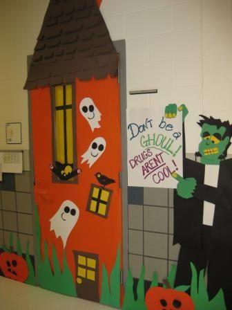 red ribbon door decorating ideas fort worth isd schools halloween classroom