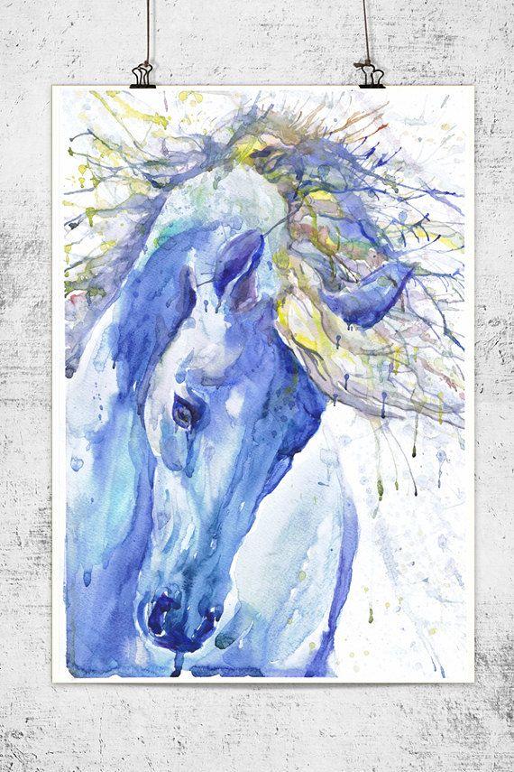 Arte caballo equino pintura acuarela caballo grabado por ValrArt