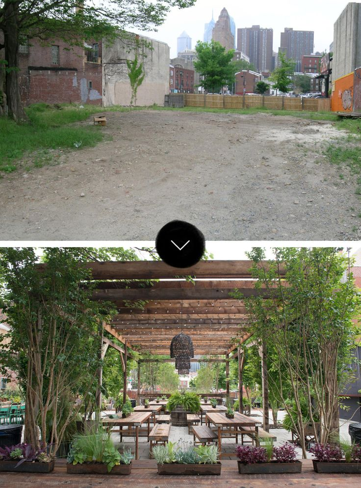 When the Pennsylvania Horticultural Society asked designer Karen Regan of Tallulah&Bird to create a pop-up warm weather garden on a vacant South Street lot, she imagined how the public gathering space would feel if it had developed organically over time.