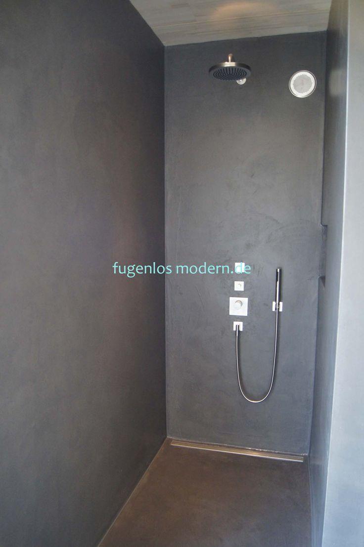 Dusche Ohne Fugen Aus Zement Gespachtelt In Farbton Lava By Fugenlos Modern De 2020 Moderne Dusche Beton Badezimmer Dusche