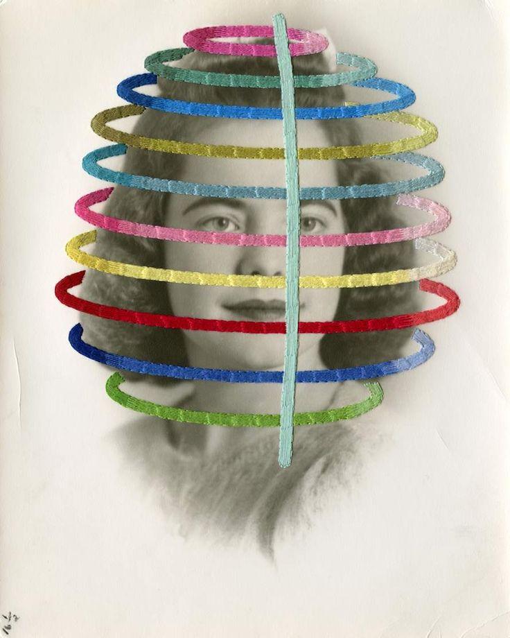 Julie Cockburn - MORE : http://graphicmixedmedia.altervista.org/sewing-on-human-faces-julie-cockburn/