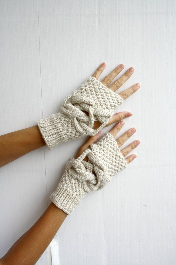 Handknit Wool Cream  Mittens gloves Mixed Christmas by denizgunes, $35.00