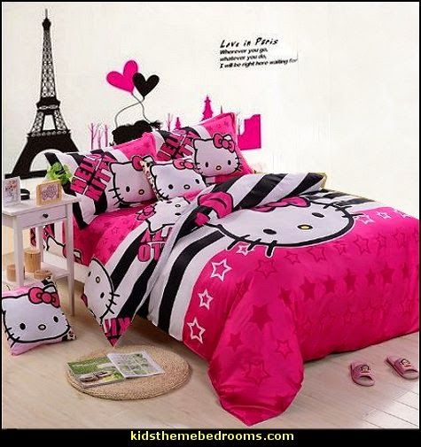 Hello Kitty Bedding Set-eiffel tower wall decal-decorating hello kitty theme bedrooms