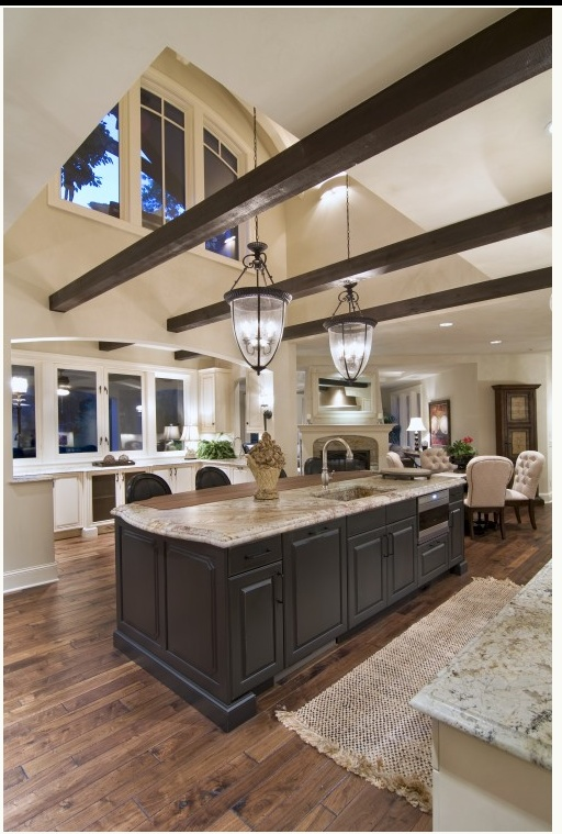 oh my...... I want it!!!!Ceilings Beams, Kitchens Design, Dreams Kitchens, Lights Fixtures, Exposed Beams, Expo Beams, High Ceilings, Open Kitchens, Wood Beams